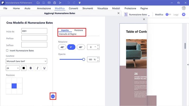 inserire bates nei pdf