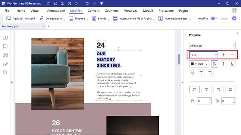 modifica la dimensione del testo in pdf