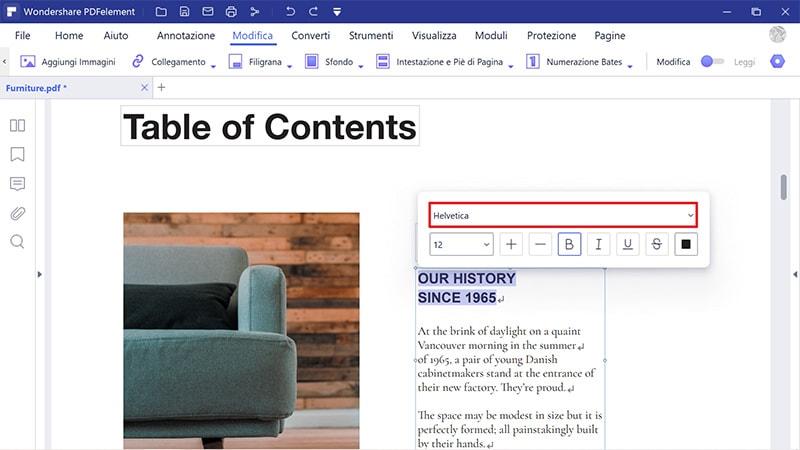 modifica PDF online con lo stesso carattere