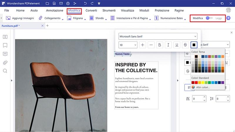 modifica colore del testo dei pdf