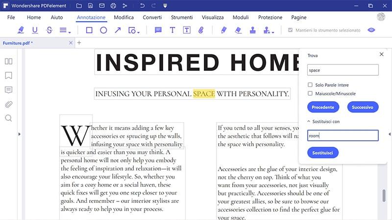 cercare e sostituire nei pdf