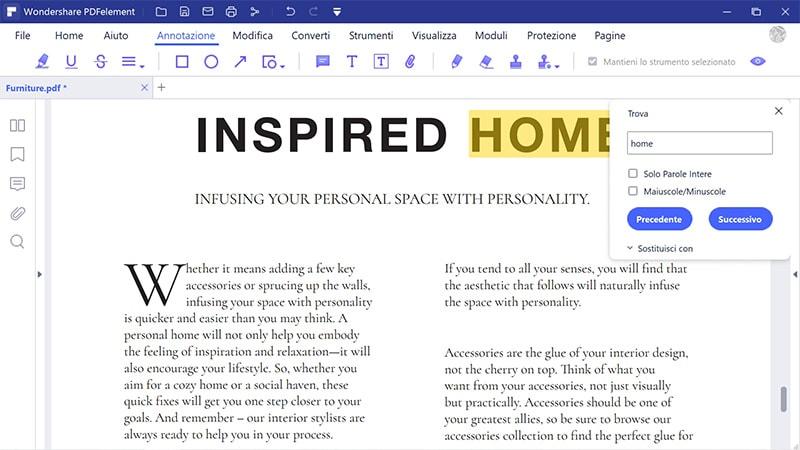 trovare e sostituire nei pdf