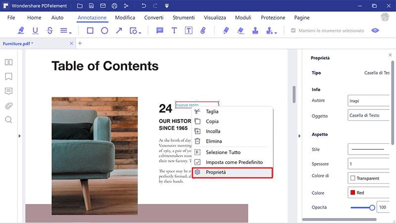 cambia la dimensione del carattere nella casella di testo pdf