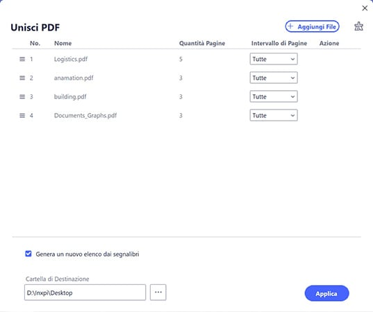 creare pdf da immagini multiple