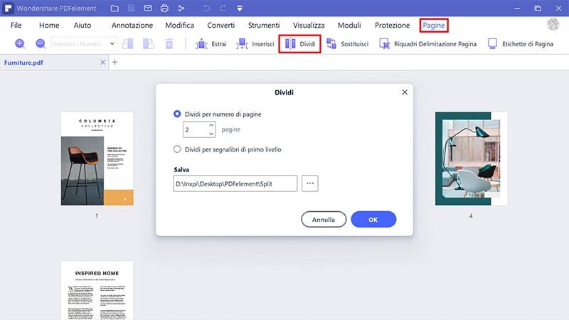 dividi file PDF window